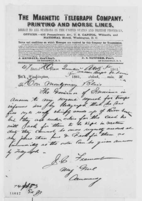 John C. Fremont to Montgomery Blair, Monday, August 05, 1861  (Telegram regarding reinforcements)