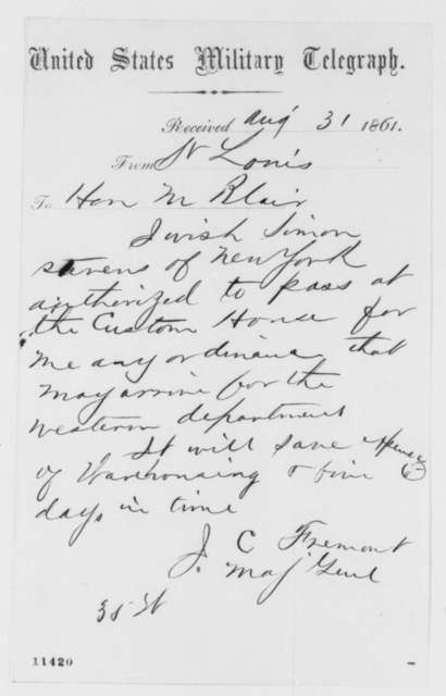 John C. Fremont to Montgomery Blair, Saturday, August 31, 1861  (Telegram regarding military affairs)