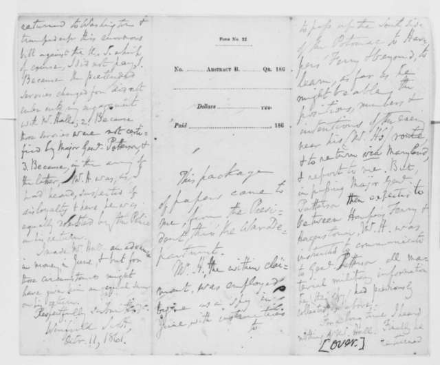 John C. Hall to Army Quartermaster, Friday, October 11, 1861  (Bill for services rendered; with endorsements from Winfield Scott and Thomas A. Scott)