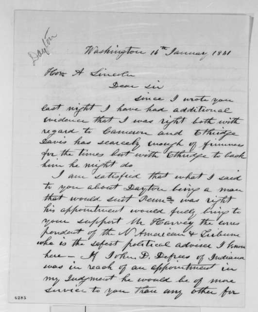 John Covode to Abraham Lincoln, Wednesday, January 16, 1861  (Cabinet advice)