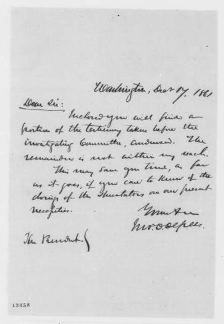 John D. Defrees to Abraham Lincoln, Tuesday, December 17, 1861  (Cover letter)
