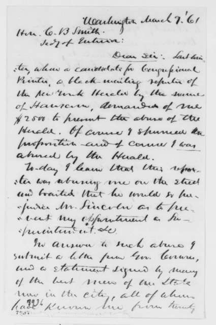 John D. Defrees to Caleb B. Smith, Saturday, March 09, 1861  (Seeks office)