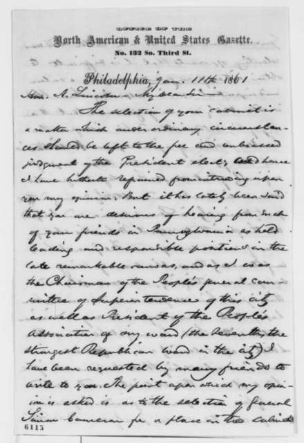 John D. Watson to Abraham Lincoln, Friday, January 11, 1861  (Supports Cameron)