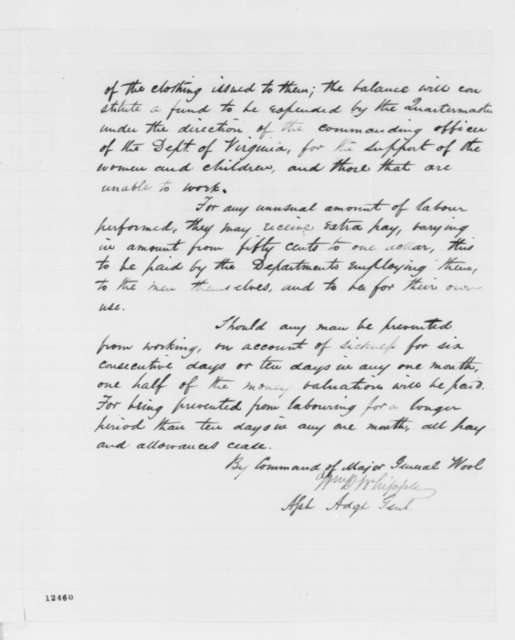 """John E. Wool, Friday, November 01, 1861  (Special Order on """"colored contrabands"""")"""