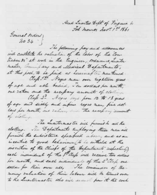 """John E. Wool, Monday, October 14, 1861  (Special Order on payment of """"colored contrabands"""")"""