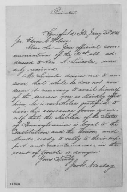 John G. Nicolay to Edwin C. Wilson, Wednesday, January 23, 1861  (Reply to Wilson's letter of Dec. 31)