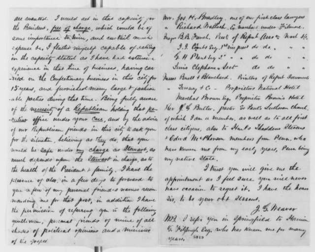 John G. Weaver to Abraham Lincoln, Saturday, January 05, 1861  (Seeks position as White House steward)