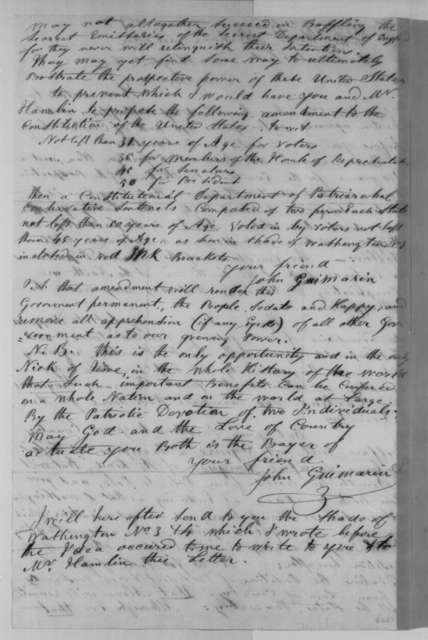 John Guimarin to Abraham Lincoln, Friday, March 01, 1861  (Sends writings and political advice)