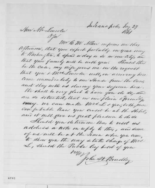 John H. Bradley to Abraham Lincoln, Sunday, January 27, 1861  (Invites Lincolns to stay at his home when they visit Indianapolis)