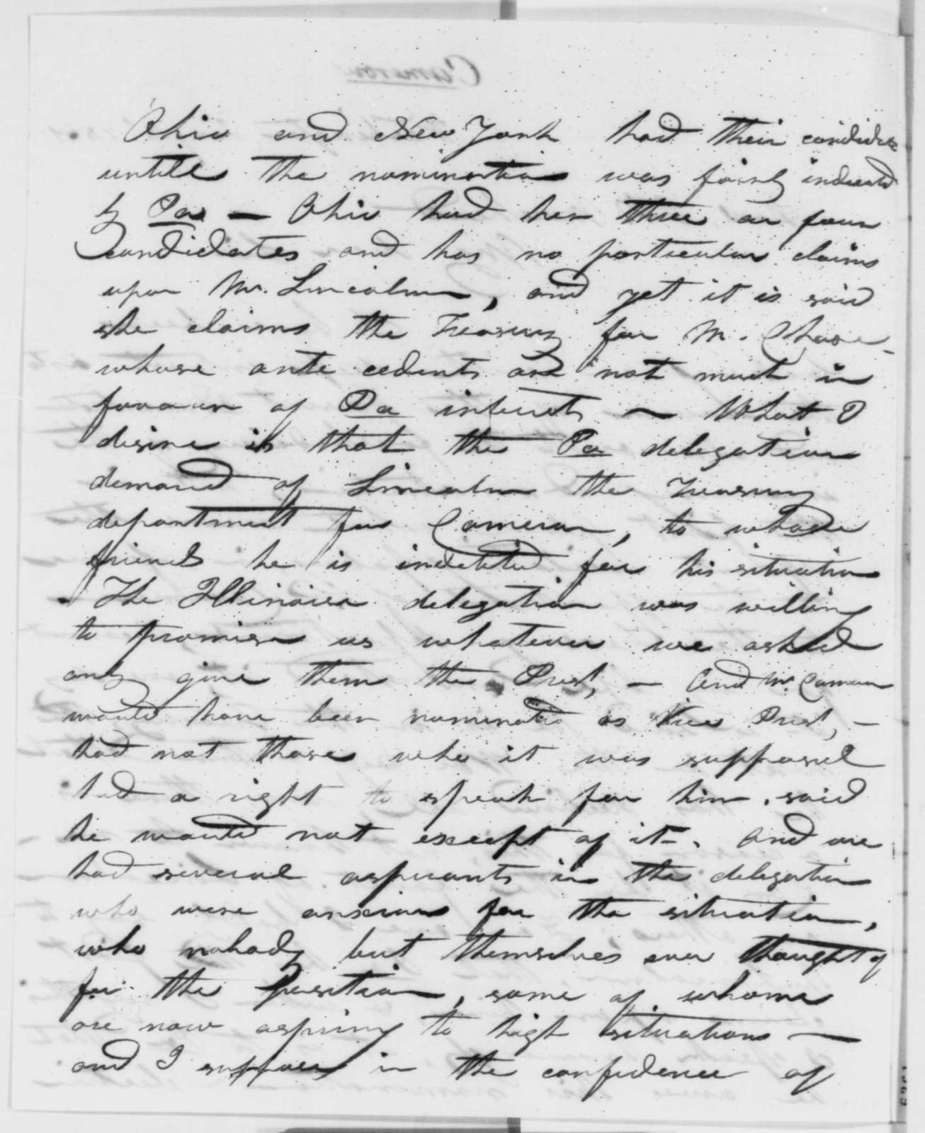 John H. Ewing to James K .Moorhead, Friday, January 18, 1861  (Cameron and the cabinet)
