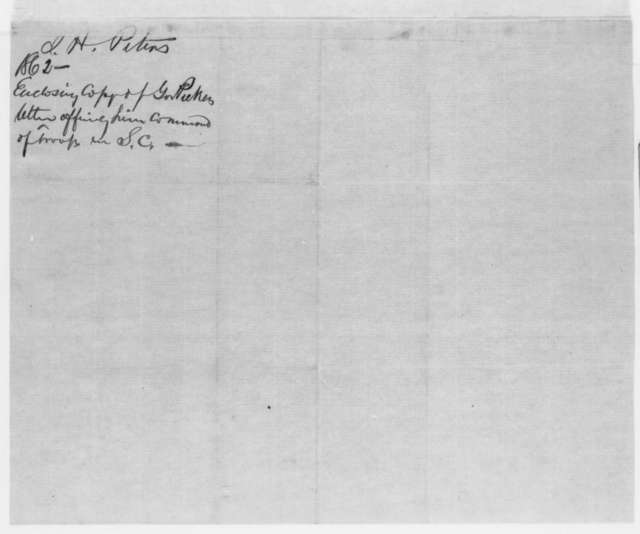 John H. Peters to Francis W. Pickens, Wednesday, April 03, 1861  (Declines offer to command South Carolina forces)