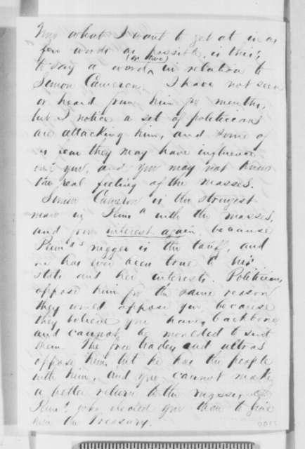 John Haldeman to Abraham Lincoln, Monday, February 04, 1861  (Supports Cameron)