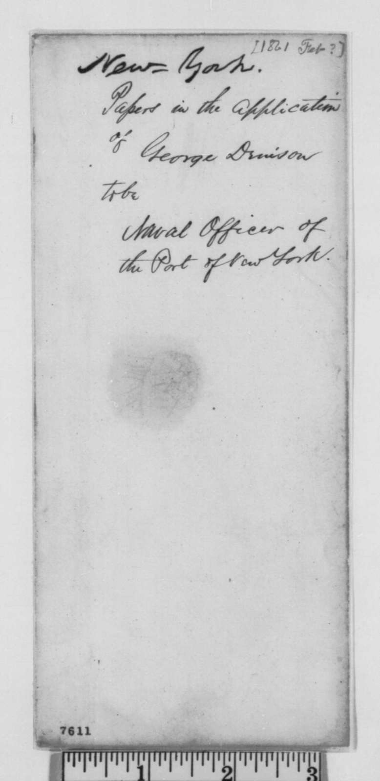 John Hay, February 1861  (Memo on letters of recommendation for George Denison)