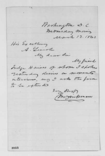 John Hickman to Abraham Lincoln, Wednesday, March 13, 1861  (Seeks interview)
