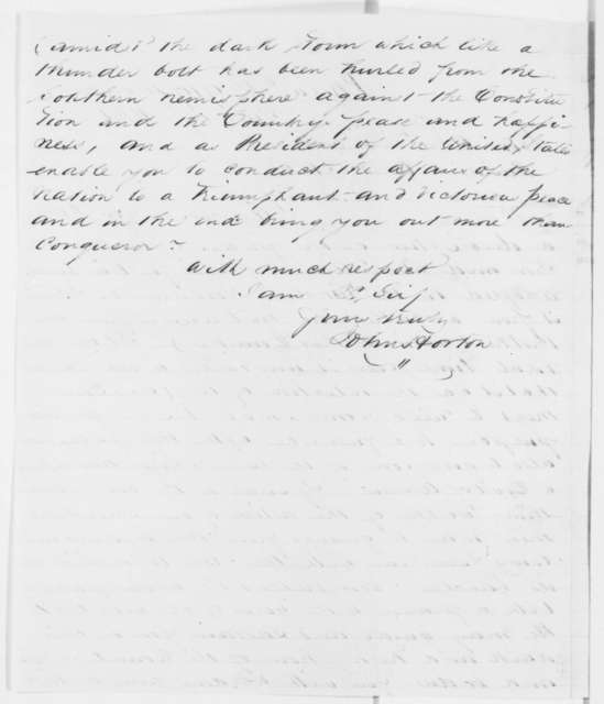 John Horton to Abraham Lincoln, Wednesday, July 17, 1861  (Sends article on iron plating for ships)