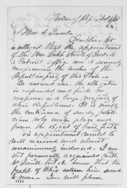 John J. Musson to Abraham Lincoln, Monday, February 04, 1861  (Recommends Caleb Smith for cabinet)