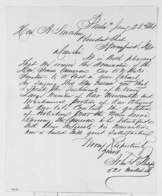 John L. Phillips to Abraham Lincoln, Friday, January 25, 1861  (Supports Cameron)