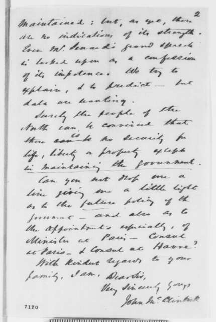 John McClintock to Abraham Lincoln, Tuesday, February 05, 1861  (Writer from Paris urges new diplomatic appointments be made immediately)