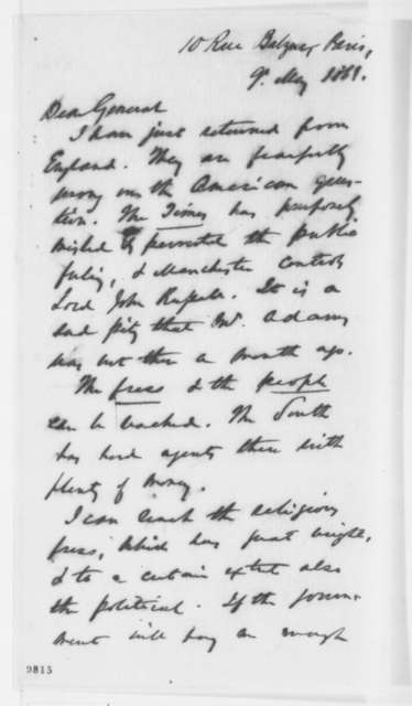 John McClintock to Simon Cameron, Thursday, May 09, 1861  (Report from Paris on European opinion)