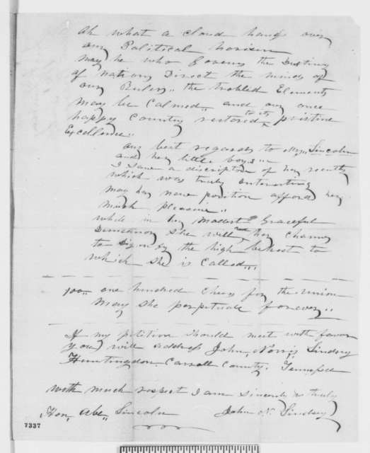 John N. Lindsey to Abraham Lincoln, Friday, February 15, 1861  (Tennessee office seeker)