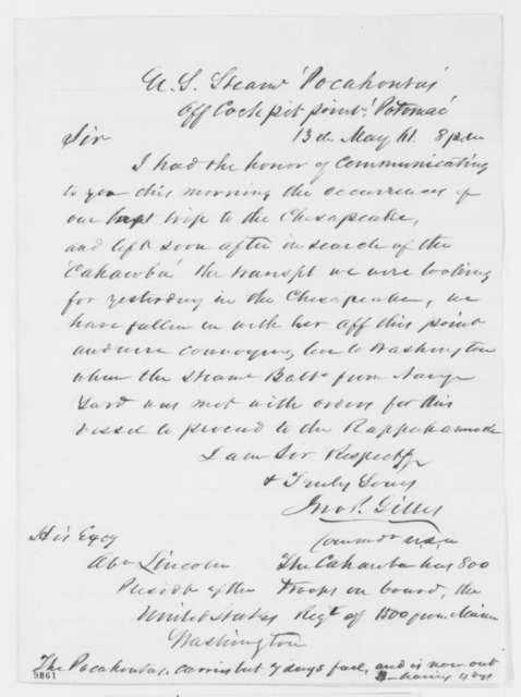 John P. Gillis to Abraham Lincoln, Monday, May 13, 1861  (Report on activities of U.S.S. Pocahontas)