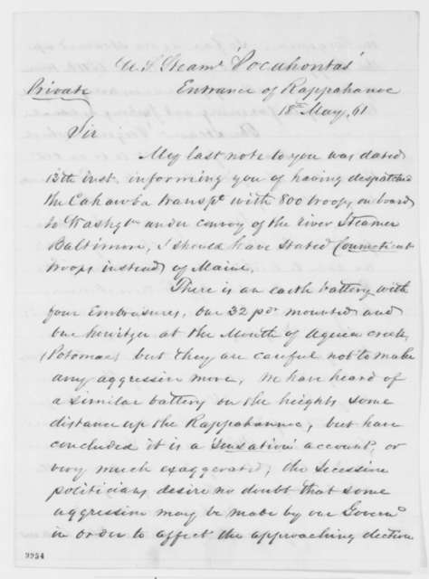 John P. Gillis to Abraham Lincoln, Saturday, May 18, 1861  (Report on actions of U.S.S. Pocahontas)