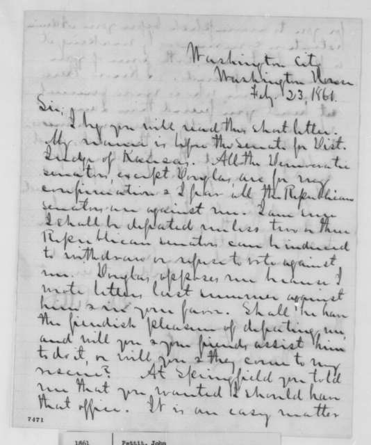 John Pettit to Abraham Lincoln, Saturday, February 23, 1861  (Seeks office as District Judge in Kansas)