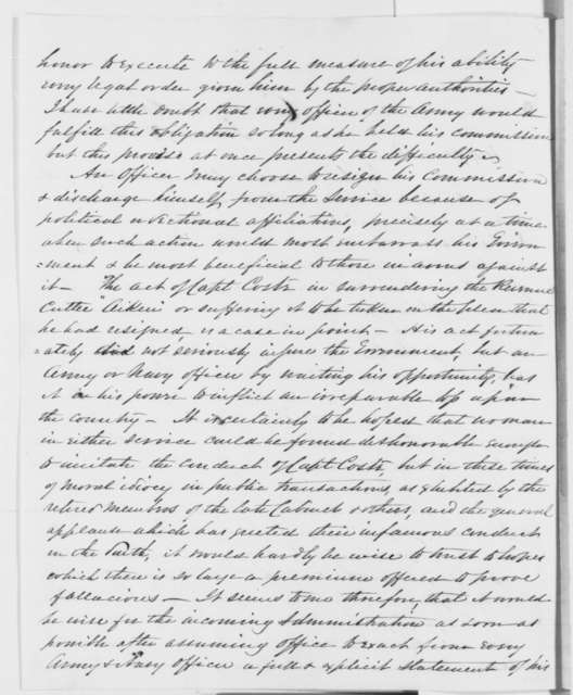 John Pope to Abraham Lincoln, Sunday, January 27, 1861  (Conditions in the army)