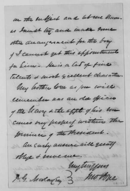 John Pope to John G Nicolay, 1861-65  (West Point appointment for John Pope Jr.)