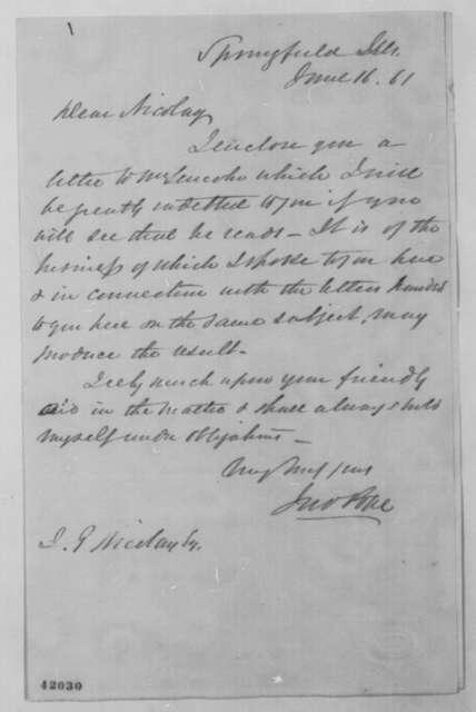 John Pope to John G. Nicolay, Sunday, June 16, 1861  (Cover letter)