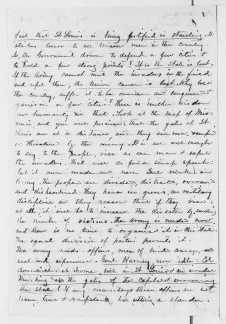 John Poyner to Abraham Lincoln, Tuesday, August 27, 1861  (Situation in Missouri; with endorsement from Edward Bates to Lincoln)
