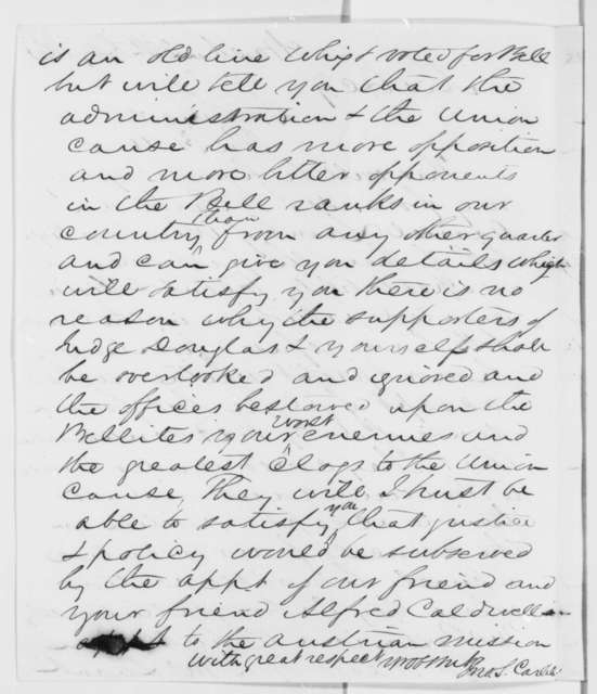 John S. Carlile to Abraham Lincoln, Sunday, July 28, 1861  (Introduction; Endorsed by Abraham Lincoln)