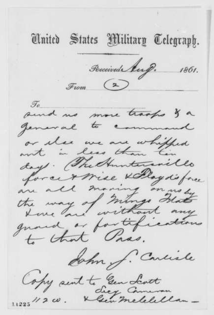 John S. Carlile to Abraham Lincoln, Thursday, August 15, 1861  (Telegram reporting military situation in western Virginia)