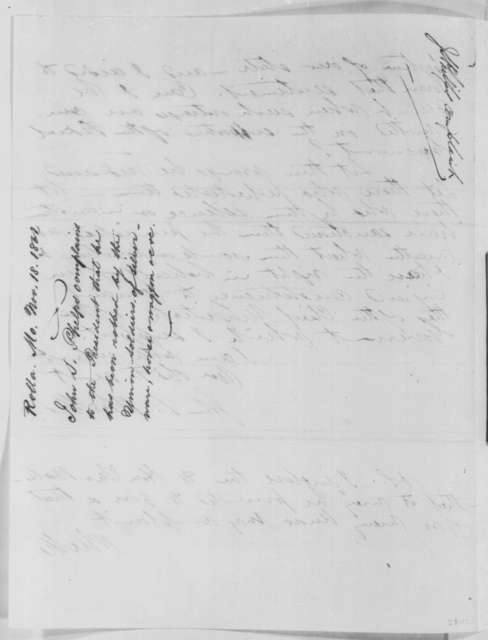 John S. Phelps to Abraham Lincoln, Monday, November 18, 1861  (Depredations committed by soldiers in Missouri)