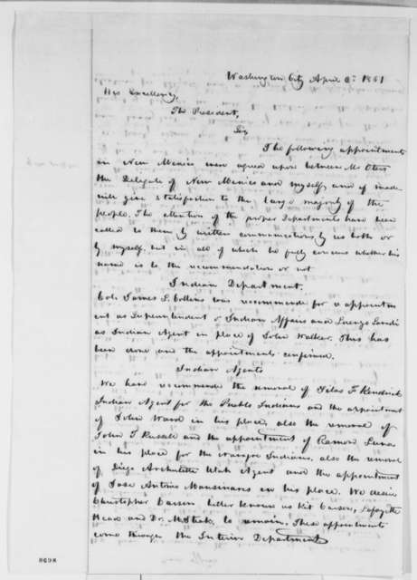 John S. Watts to Abraham Lincoln, Tuesday, April 02, 1861  (New Mexico appointments)