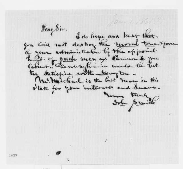 John Smith to Abraham Lincoln, Tuesday, January 01, 1861  (Cameron)