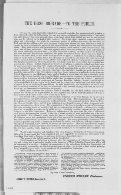 John T. Doyle to Abraham Lincoln, Wednesday, November 13, 1861  (Formation of Irish Brigade)
