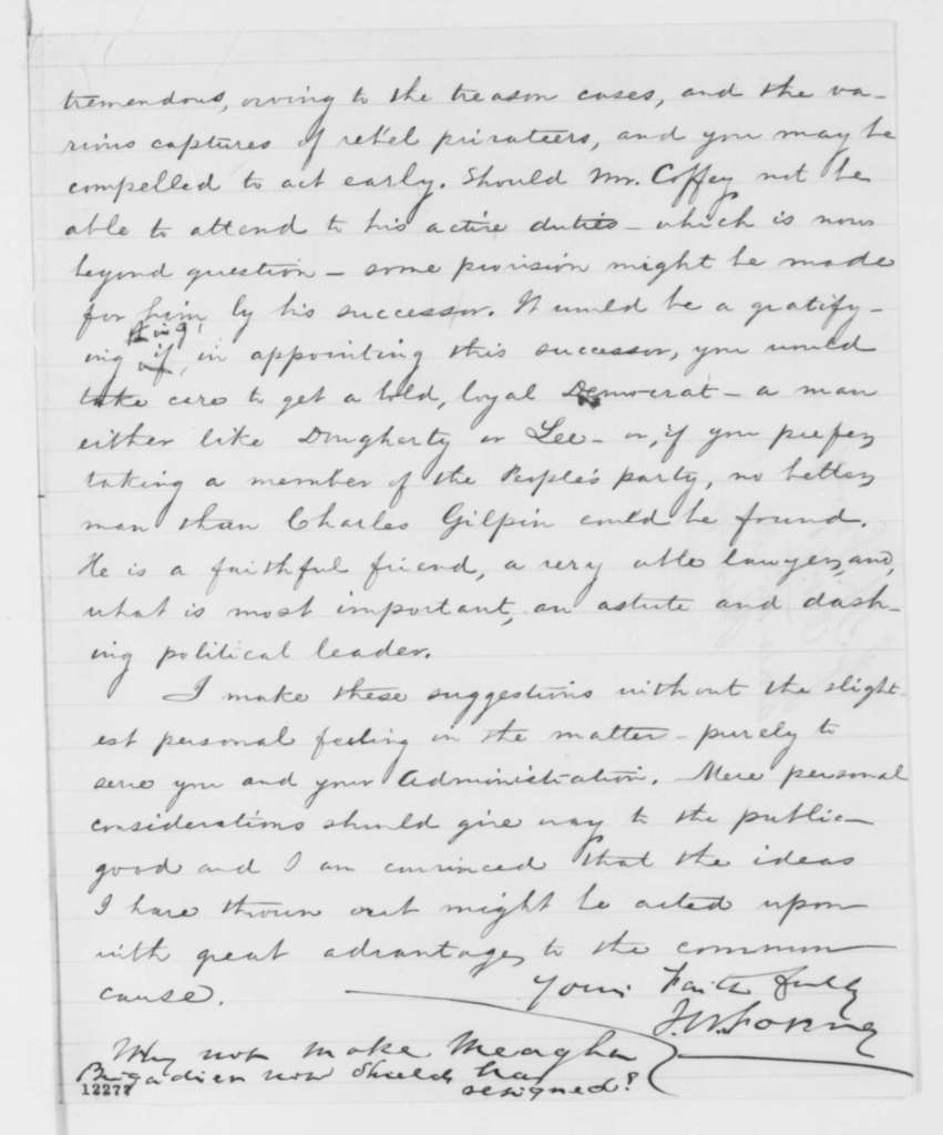 John W. Forney to Abraham Lincoln, Friday, October 04, 1861  (Political and military affairs)