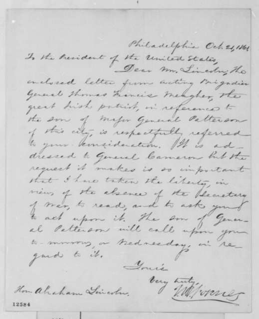 John W. Forney to Abraham Lincoln, Monday, October 21, 1861  (Cover letter)