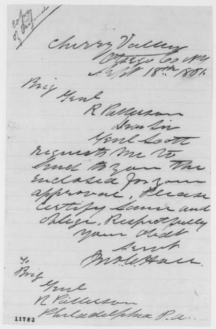 John W. Hall to Robert Patterson, Wednesday, September 18, 1861  (Cover letter)