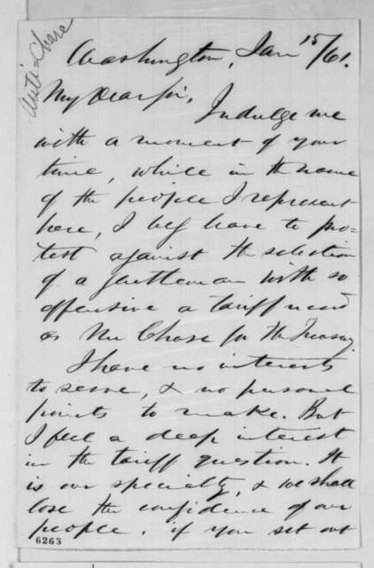 John W. Killinger to Abraham Lincoln, Tuesday, January 15, 1861  (Opposes Chase or any other free trader as Secretary of Treasury)