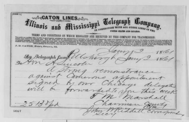 John W. Riddell and T. M. Marshall to Abraham Lincoln, Wednesday, January 02, 1861  (Telegram against Cameron)