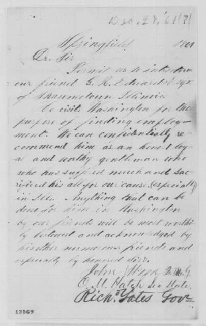 John Wood, et al. to Abraham Lincoln, Friday, December 27, 1861  (Recommendation)