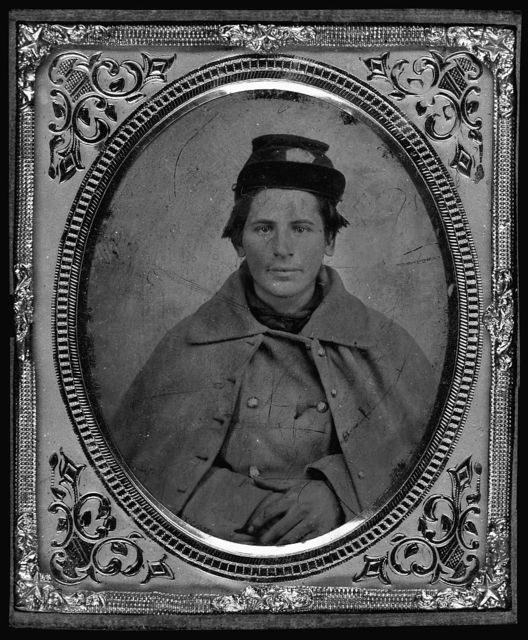 [Jonas Nathan Shuler, Private, 10th Ill. Cav., U.S.A., half-length portrait, seated, facing front]