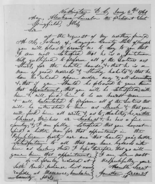Jonathan Creaves to Abraham Lincoln, Sunday, January 06, 1861  (Recommendation)