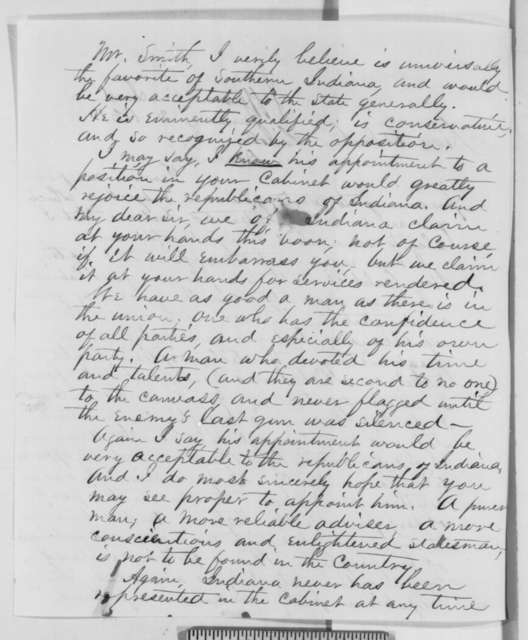 Jonathan S. Harvey to Abraham Lincoln, Wednesday, January 02, 1861  (Recommendation for Caleb Smith)