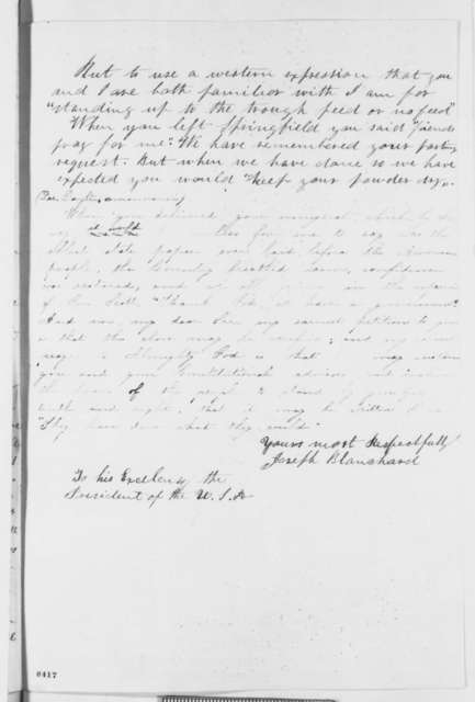 Joseph Blanchard to Abraham Lincoln, Thursday, March 28, 1861  (Evacuation of military posts)