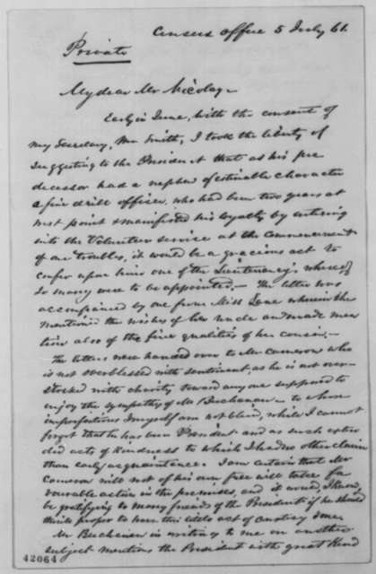 Joseph C. G. Kennedy to John G. Nicolay, Friday, July 05, 1861  (Recommendation)