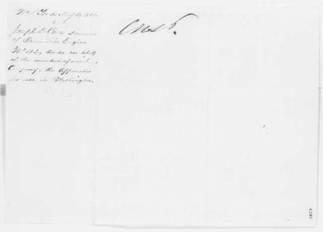 Joseph D. Costa to Abraham Lincoln, Tuesday, May 14, 1861  (Offers services of fire engine company)
