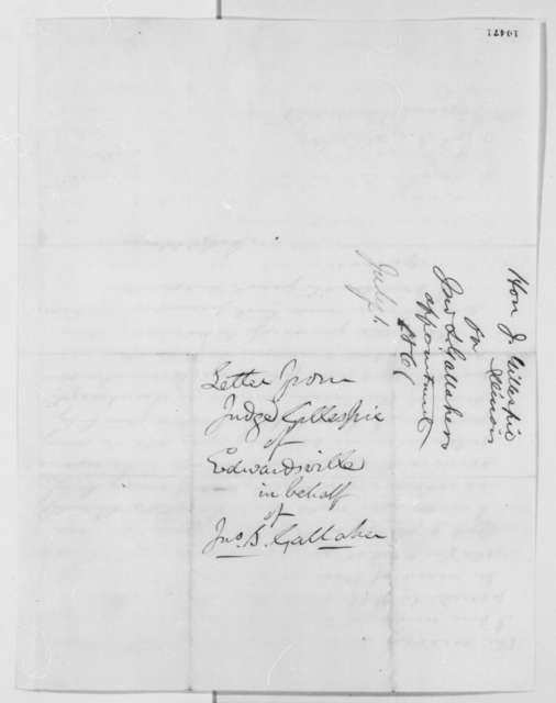 Joseph Gillespie to John S. Gallaher, Monday, July 01, 1861  (Appointment)